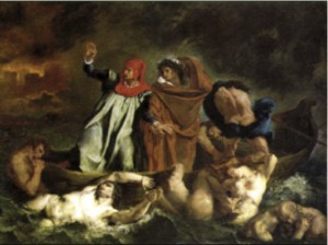 "Dante & Virgil in ""The Barque of Dante"" – Delacroix (1798-1863)"