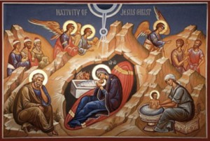 One of thousands of depictions of the Nativity of Jesus. The full cast of characters, some winged, some with haloes. But does it portray an event any more miraculous than one every parent of every newborn has experienced?