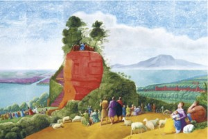 """A Bigger Message"" by renowned contemporary artist, David Hockney, is a re-imagined rendering of the original Claude Lorrain's 17th C. painting entitled, ""Sermon on the Mount"""