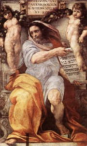 "Making a list, and checking it twice: ""The Prophet Isaiah"" – Raphael, 1512"