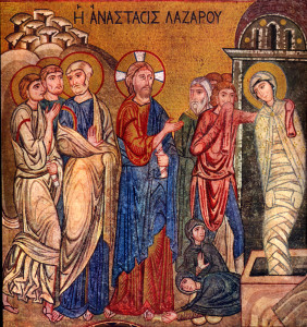 """Jesus cried with a loud voice, """"Lazarus, come out!"""" The dead man came out, his hands and feet bound with strips of cloth, and his face wrapped in cloth. Jesus said to them, """"Unbind him, and let him go.""""  (John 11:44)  Right: """"Raising of Lazarus"""" - mid-12th century mosaic, Capella di Palatina Palermo, Italy"""