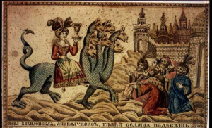"""Whore of Babylon & the Seven-headed Beast,"" - 19th century Russian engraving"