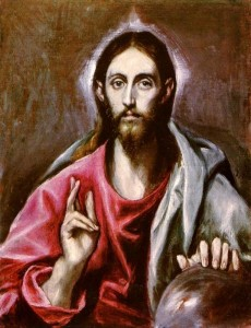 Pantocrator Christ with orb - Artist: El Greco, 1600 CE National Gallery of Scotland, Edinburgh