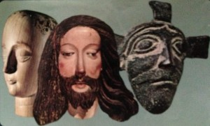 The Faces of Jesus, with text by Frederick Buechner, left to right: 18th C Ivory Head of Christ, Mexico; medieval wood carving detail, Metropolitan Museum of Art, N.Y.; 11th C bronze relief, door of the San Zeno Cathedral, Verona.