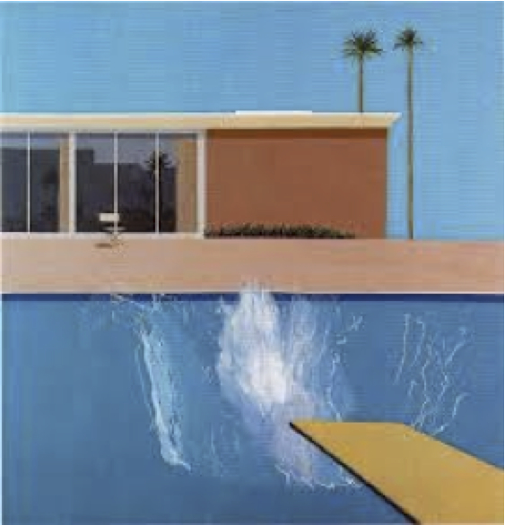 "Artist David Hockney's  1967 Southern California classic  ""A Bigger Splash,"" a painting emblematic of a specific moment in Los Angeles art history."