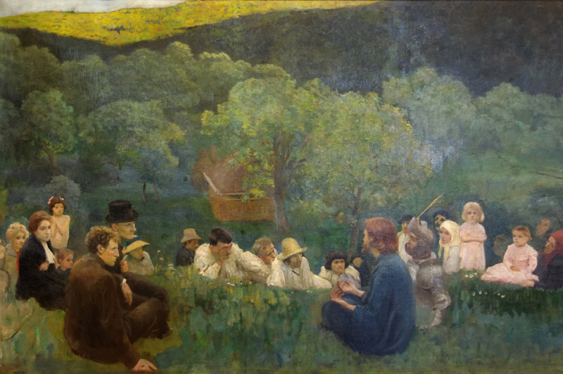 ": ""Sermon on the Mount"" – Hungarian artist Kalroly Ferenczy depiction of a pastoral scene, Budapest, 1896"