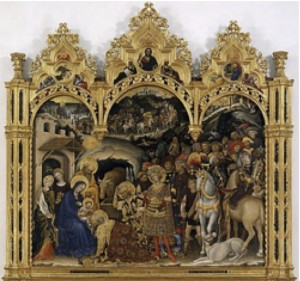 "Adoration"" by Gentile da Fabriano  Tempera on panel, 1453"