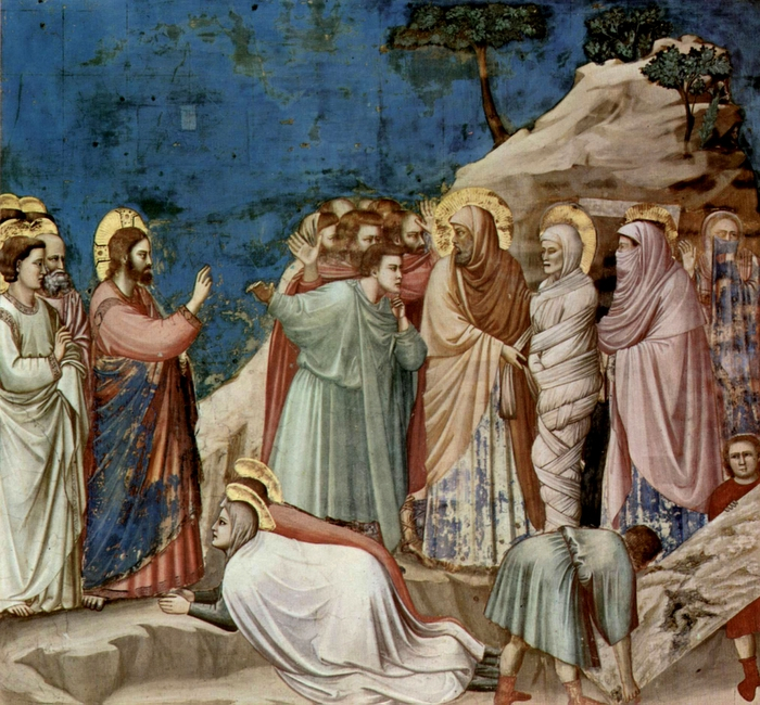 The Raising of Lazarus – Fresco, Artist: Giotto, 13 C, Padua, Italy