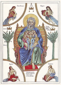 The bosom of Abraham – medieval illustration from the Hortus deliciarum of Herrad of Landsberg (12th century)