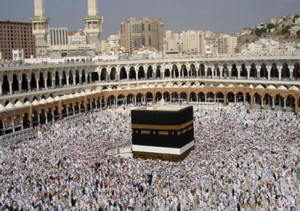 Muslim pilgrims circle the Hajj in Mecca